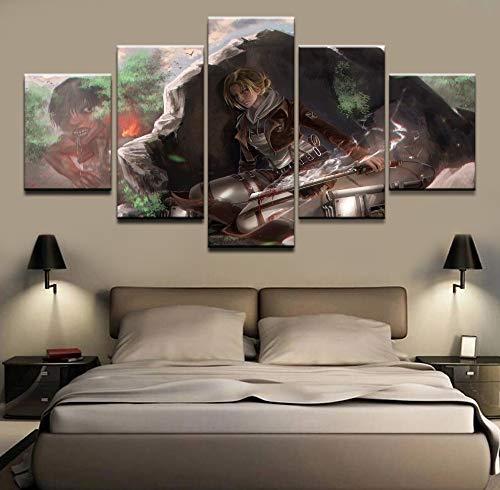HOMOPK 5 Stücke Malerei Modulare Tapete HD Druck Auf Leinwand Wandkunst Wasserdicht Poster Bad Wohnzimmer Wohnkultur Bild Titan-Spiel angreifen A,Rahmen
