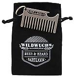 Wildwuchs Bartpflege - Beer & Beard Keyring - Bartkamm Schlüsselanhänger mit Flaschenöffner als Geschenkidee - Silber