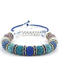 11-Ball Purple/Multi-White/Blue/Light Blue/Lake Blue/Royal Blue Bead Shamballa Bracelet with Blue Spacers & White Crystals on Blue & White String Ideal Gift for Christmas Birthdays