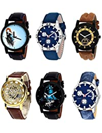 NIKOLA New 3D Design Mahadev Open Black Blue And Brown Color 6 Watch Combo (B22-B56-B14-B45-B23-B57) For Boys...