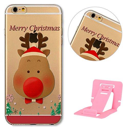 iPhone 6 Hülle,iPhone 6S Schutzhülle Defender Bumper,Ekakashop Ultra dünn Slim Bunt Christmas Weihnachten Durchsichtig Transparent Muster Weiche Silikon TPU Gel Crystal Case Defender Back Cover Protec Weihnachten Kitz
