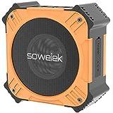 Soweiek T80 Altoparlante Bluetooth Portatile Solare, Speaker Senza Fili Impermeabile IPX6 con Tempo di Riproduzione di 20 Ore, Audio Stereo HD e Bassi Potenziati, Microfono, AUX e Design Resistente (Arancia)