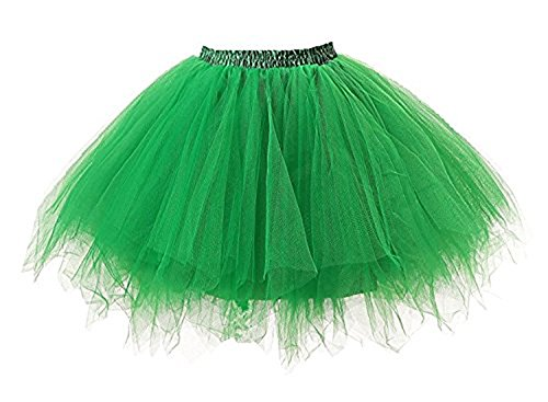 Tutu Damenrock 80er Jahre Neon Tütü Damen Rock Tüllrock Petticoat Pettiskirt 50er Vintage Tutu Kurze Ballet Rock Tanzkleid Unterrock Unterkleid Pink für Frauen Erwachsene 1980s Fancy Dress (Green) -