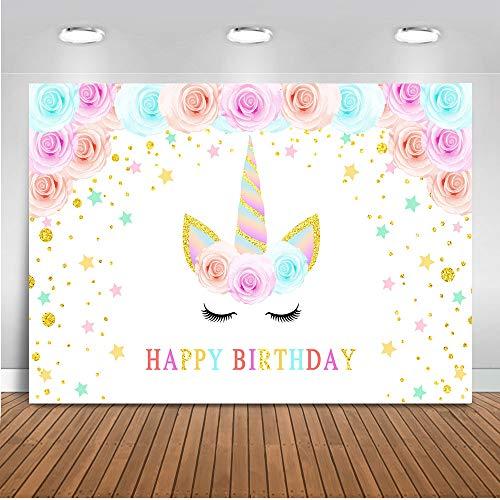 Mehofoto Einhorn-Hintergrund 7x5ft Vinyl Wasserfarbe Einhorn Blume Happy Birthday Fotografie Hintergrund Gold Glitter Punkte Einhorn Fotografie Studio Prop