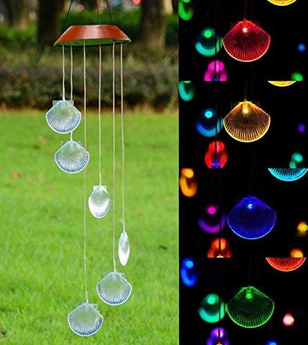LED Solar Windspiel, Farbwechsel, Seashell Formen Wind Chimes Solar Mobile wind Bell f�r Home/Party/Garten/Hof Dekoration | Garten > Dekoration > Windspiele | Xunlong