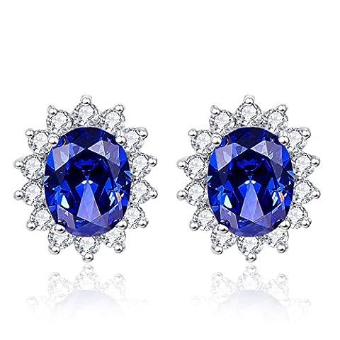 bonlavie Damen Kate Middleton Prinzessin Diana 3,2ct Tansanit blau Ohrstecker 925Sterling Silber