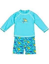 Landora®: Baby- / Kleinkinder-Badebekleidung langärmliges 2er Set mit UV-Schutz 50+ und Oeko-Tex 100 Zertifizierung in türkis