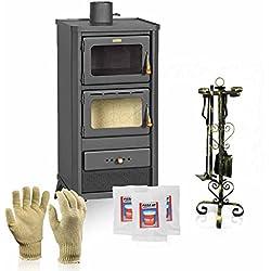 Poêle à bois avec four Prity, modèle FM E + cadeau Accessoires, Puissance 12kW, Chargement en façade Verre céramique Échappement Gaine ø130 supérieur
