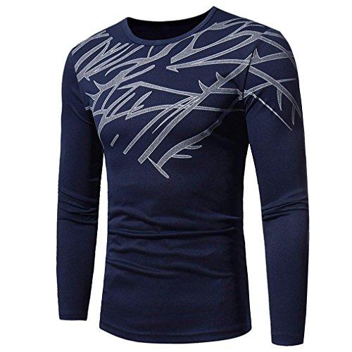 Longra Herren Herbst Winter Langarmshirt Warm Basic Sweatshirt Pullover Top Fashion Printing Herren Langarm T-Shirt Bluse (L, Navy)