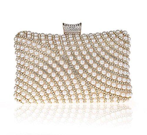 KAXIDY Imitation Perle Strass Designer Damentasche Tasche Clutch Handtasche Abendtasche Brauttasche (Gold) (Handtaschen Perlen Handtaschen Designer-handtasche)