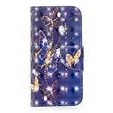 Bear Village Xiaomi Redmi Note 5A Hülle, 3D Glitter Surface Leder Cover Brieftasche Schutzhülle mit Kartenfächern & Ständer Funktion für Xiaomi Redmi Note 5A (#7 Schmetterling)
