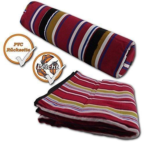Komfortable Picknickdecke Fleece, rot- gestreift, Maße 150 x 135cm, wasserfeste Rückseite