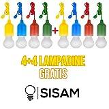 Lampe LED Lamp SISAM Schreibtischlampe, tragbare LED-Lampen, Colors Lampen. 4+4 Stück, wiederaufladbar, Wandern, Fisch, Barbecue, Camping, Garderobe, Feste, Emergence, Außenbeleuchtung