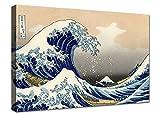 Quadri moderni cm 100x70 Hokusai la Grande Onda di Kanagawa Stampa su tela canvas in cotone Quadro Moderno XXL Arredo Soggiorno arte casa