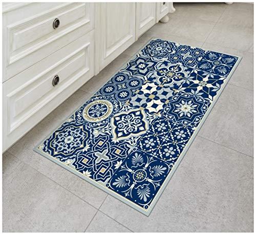 The Nisha Vinyl Kitchen Floor Mat Küchenmatte Dekorative Linoleum Matte Teppiche PVC Teppichläufer Fliesenboden, Bunt, Langlebig, rutschfest, Handwaschbar und Schützt Böden 120cm x 72cm, Königsblau
