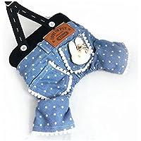 'Spritech (TM) Pet Dog Clothes tempo libero indossare bretelle Jeans adatto per primavera e estate