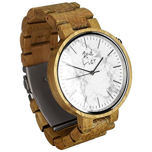 2nd Liar / Stonewatch / einzigartige Holz Armbanduhr / edle Holzuhren mit Ziffernblatt aus Stein / vegane Holzuhr / handgefertigt, unisex / 42mm / weiße Eiche