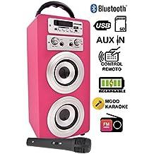 DYNASONIC Altavoz Bluetooth con Radio FM incorporada y Karaoke de Diseño con Micrófono de regalo 025-rosa