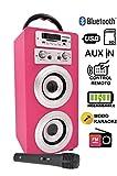 Altavoz Karaoke Bluetooth, DYNASONIC Reproductor mp3 inalámbrico portátil con micrófono, lector USB SD, Radio FM LINE IN 3.5mm control remoto, PC MAC iPhone Android Smartphones Tablets (Color Rosa)