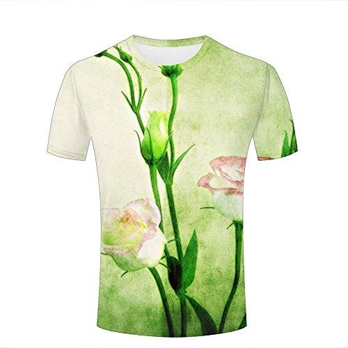 Herren Damen Graphic 3D Branch Bloom Rose Watercolor Print Fashion Casual T-Shirts M (Polo Alpha Classic Shirt)