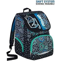 Zaino scuola SEVEN - SHIFT - Nero - INNOVATIVO sistema di regolazione spallacci in altezza - 29 LT - elementari e medie inserti rifrangenti