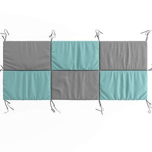 VitaliSpa Hausbett Kinderbett Bettrückwand Wiki in den Varianten: 140x70 // 160x72 // 200X85 cm erhältlich in: Rosa-Grau, Weiß-Grau und Türkis-Grau (Türkis-Grau, 85cm x 200cm)