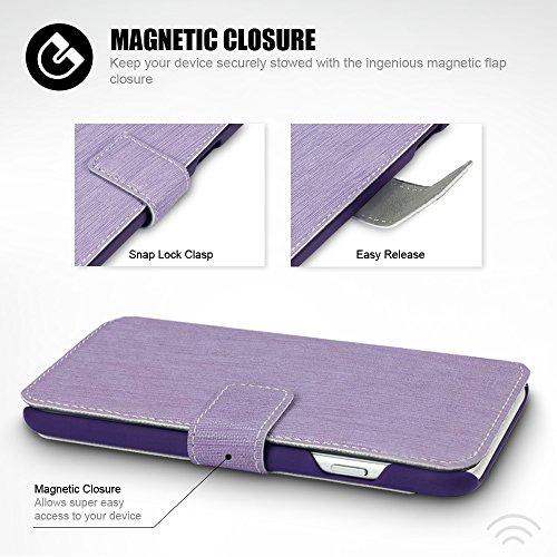 iPhone 8 / iPhone 7 Tasche, Terrapin Leder Tasche Case Hülle im Bookstyle mit Standfunktion Kartenfächer für iPhone 8 Hülle Grau Lila