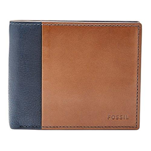 Fossil Geldbörse WARD bifold Braun Blau ML3919-400 Herren Portemonnaies Leder -