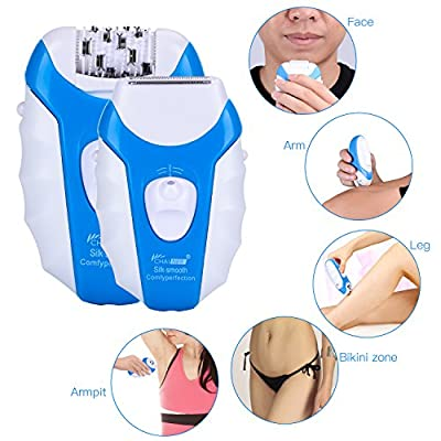 Hair Epilator for Women Man CHAINER 5 in 1 Rechargeable Hair Removal Kit Electric Cordless Lady Shaver Bikini Trimmer Wet and Dry with 5 Extra Heads for Feet and Hair Care UK plug from CHAINER