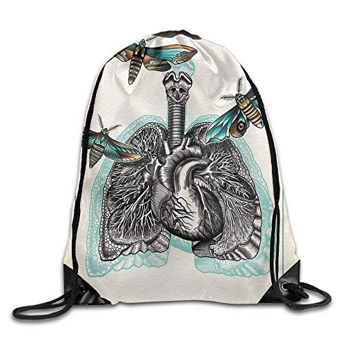 101ad4f0053c HLKPE Man Body Lungs Internal Organ Physics with Several Moths Living  Drawstring Gym Sack Sport Bag for Men And Women