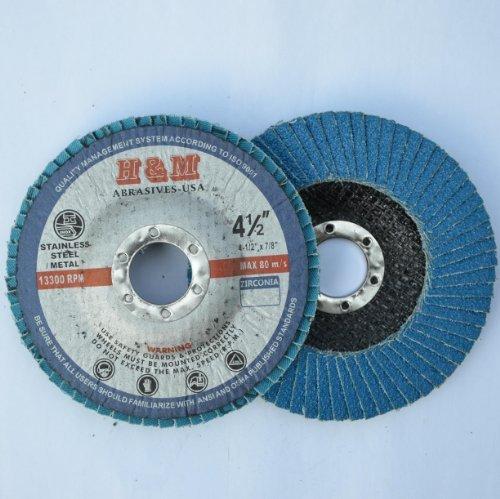10pcs Premium FLAP DISCS 4-1/2 x 7/8 Zirconia 80 grit Grinding Wheel - Type 29 by H&M ABRASIVES-USA