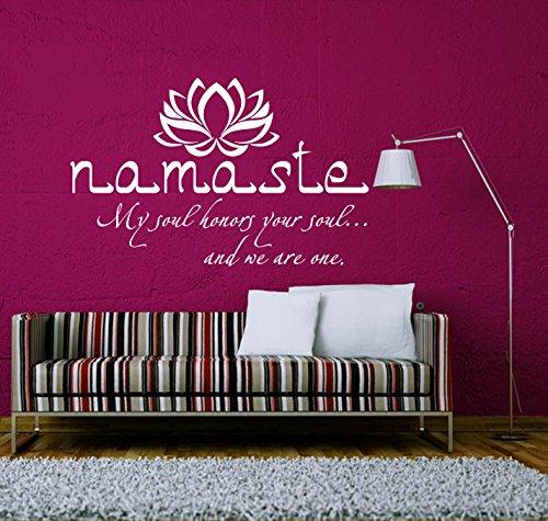 Wandtattoo Zitat Buddha Yoga Lotus Sprüche Namaste Om Wandaufkleber Spruch Vinyl Aufkleber Wanddeko Fototapete Wandsticker Dekoration für Zuhause...