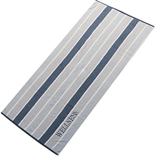 aqua-textil Saunatuch Doppelpack 80x200 cm Baumwolle Frottee Handtuch mit Wellness Stickerei 2000175 Streifen Grau