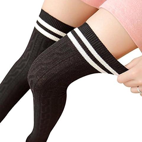 Saingace Hochschule Wind-Schenkel-hohe Socken Strümpfe über das Knie Mädchen-Frauen