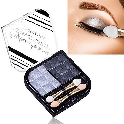 Perfect Summer 2 Colors Make Up Glitter Eyeshadow Palette Waterproof Shade #001-Metallic Silver/Dark Slate Blue,5.8g