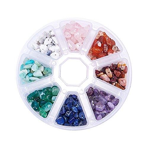 pandahall Elite 1 Box 8 Mixed Color Natural Rose Quartz, Natural Amethyst, Natural Amazonite, Natural Mookaite Color Quart Crystal Chips Beads,Mixed Color,5~8x5~8mm, 1mm Rose-chip