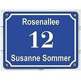 Haustürschild mit Namen, Straße und Hausnummer, ca. 15 x 20 cm, aus Aluminium