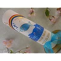 Taufkerze Fisch blau gold Regenbogen Kreuz zur Taufe Taufkerzen Junge Mädchen 250/70 mm inkl. Beschriftung