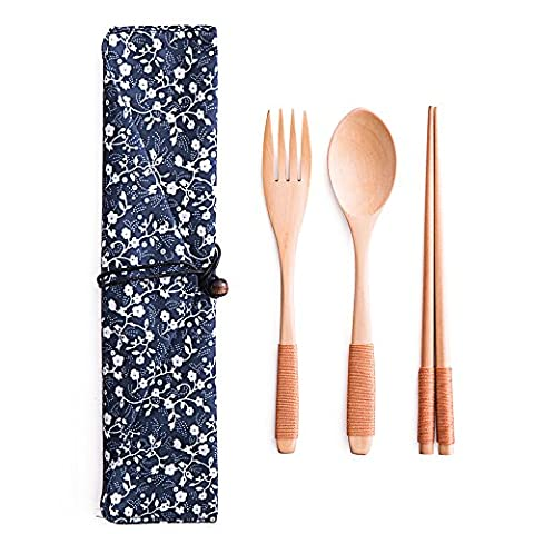 TAMUME Wooden Flatware Mixed Cutlery Sets Portable for Travel Cutlery