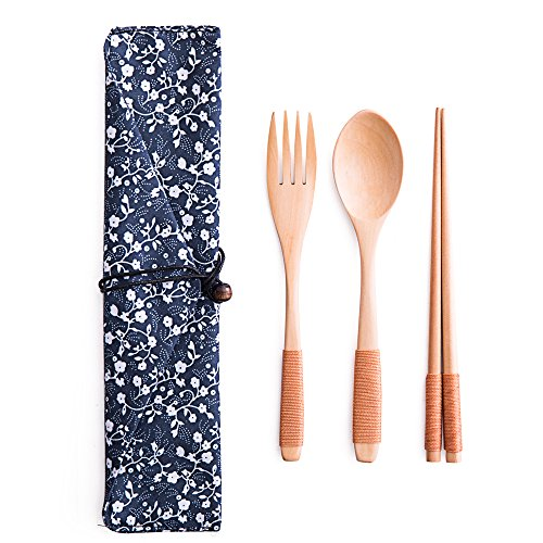 TAMUME Wooden Flatware Mixed Cutlery Sets Portable for Travel Cutlery Set with Travel Pouch of 3 Piece Wooden Tableware Kitchen Utensils Including Wooden Spoon, Wooden Fork and Wooden Chopsticks (Blue East)