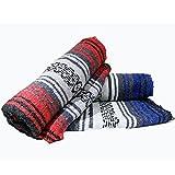 Yogi-bare Mexicain style yoga couverture - méditation couverture / relaxation / yoga studio / boho jeté de lit - Bleu