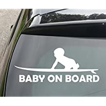 Baby Surfer on Board Funny Car/Bumper Vinyl Decal Sticker 210mm