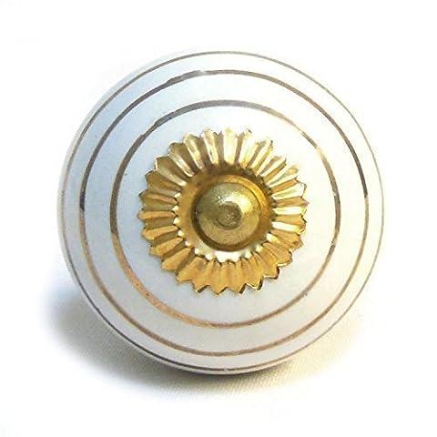 White Gold Striped Round Porcelain Ceramic Cupboard Door Knob