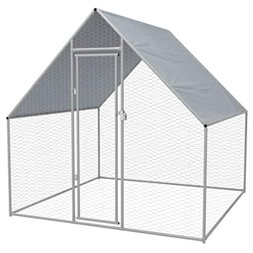 Vidaxl gabbia per polli da esterno acciaio zincato 2x2x2 m pollaio conigliera