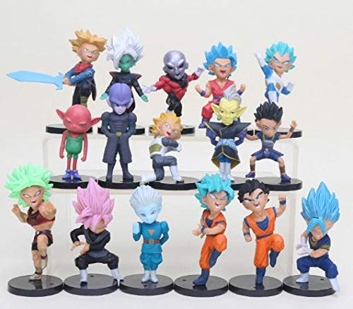 LOT of 16 figures of Dragon Ball DBZ DBS DB GT PVC characters of Goku Vegeta Zamasu Trunks Jiren Hit Zeno sama Zamas Cabbe Kefla .5-8 cm approx figures