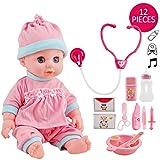 deAO Bamboletta Interattiva Visita dal Dottore Set da Bambola con Accessori Medico Inclusi per Prendersi Cura Il Bebè Funzioni Luminose e Sonore
