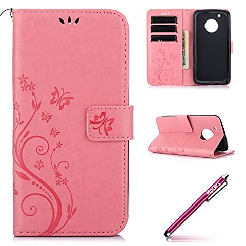 Moto G5 plus Back Case, Hpory Premium Soft Inner PU Leather Cover Magnetic Buckle Design Flip Folio Wallet Case Luxury Fashion Pure Embossed Flower Butterfly Pattern Mobile Phone Protective Cover Shockproof Anti-scratch Bumper Shell Skin Case with Stand Function, Card Slots and Hand Strap for Moto G5 plus + 1 x Touch Screen