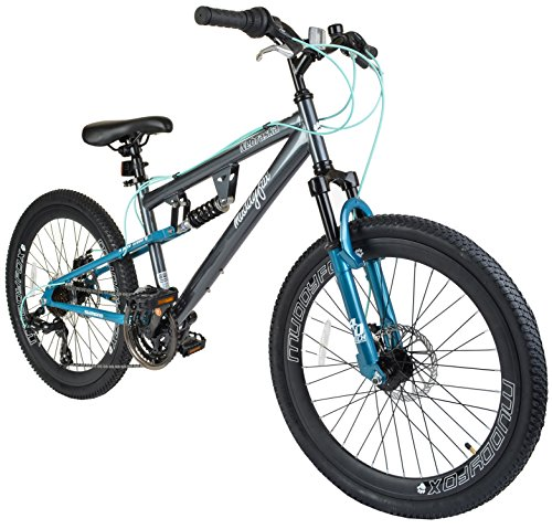 Muddyfox Nebraska 24 Girls Dual Suspension Mountain Bike in Grey and Terquise with Dual Disc Brakes and 21 Speed