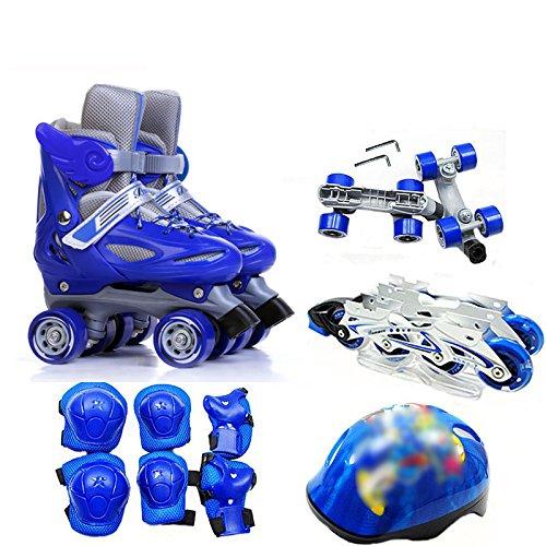 MISS LI Skates Kinder Zweireihig Allrad Skates Skates 2-8 Kinder Rollschuh Set Männer Und Frauen,BlueA-XS