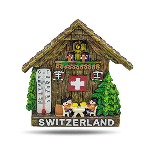 Jumi Magnet mit Thermometer - Kühlschrankmagnet Kuckucksuhr Switzerland 7.5 cm x 6.5 cm - mit schönes 3D Design